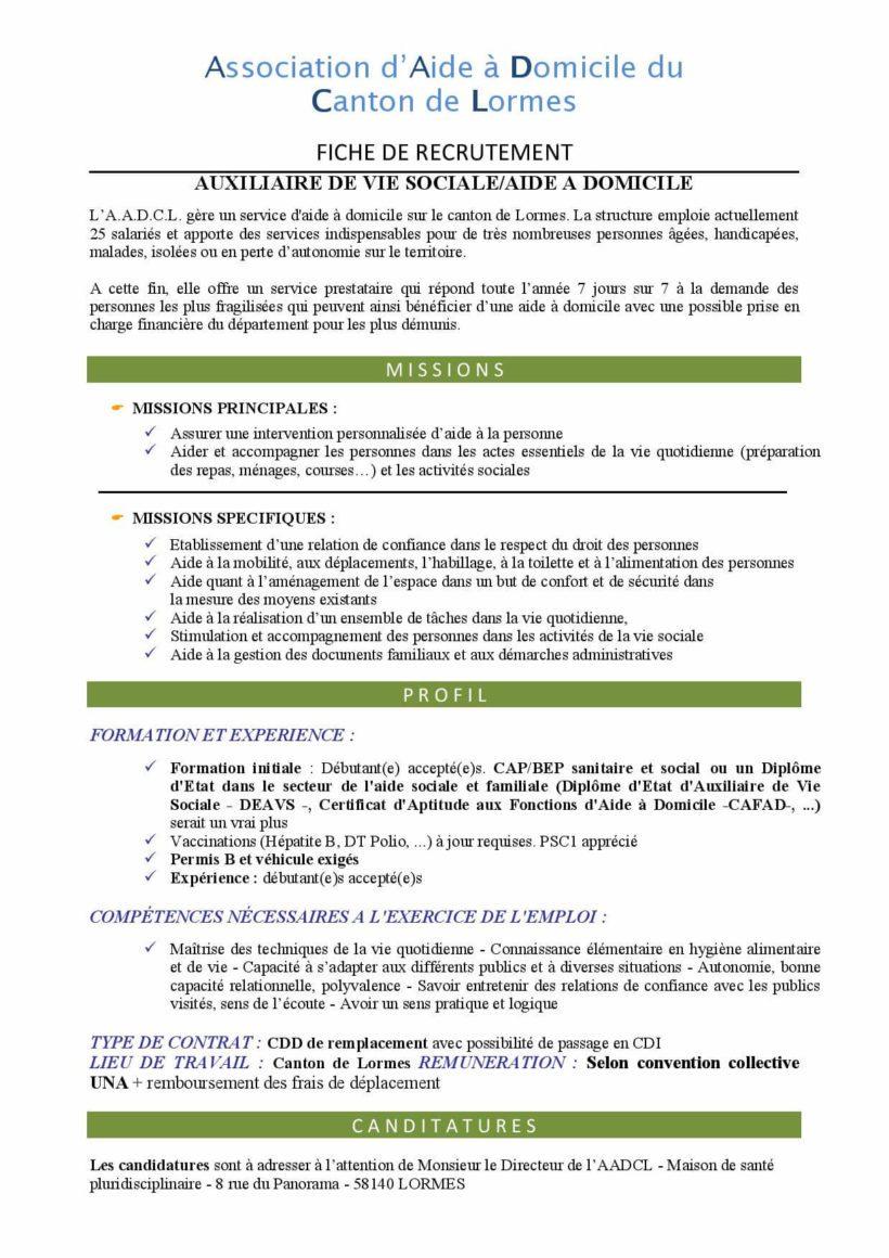 Recrutement aide à domicile - Centre Social de Lormes